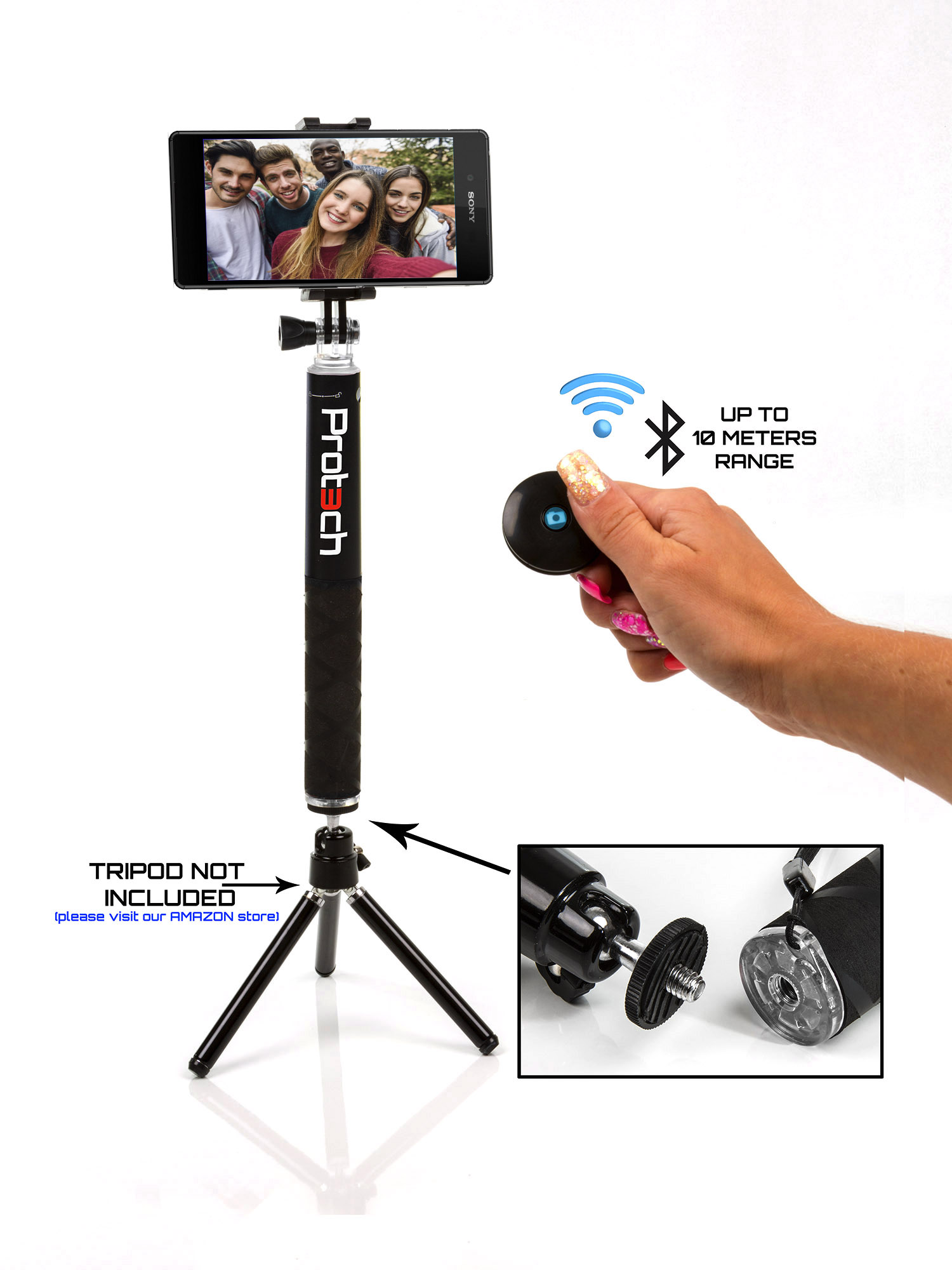 sony xperia monopod selfie stick 60cm telescopic compact bluetooth tripod ebay. Black Bedroom Furniture Sets. Home Design Ideas