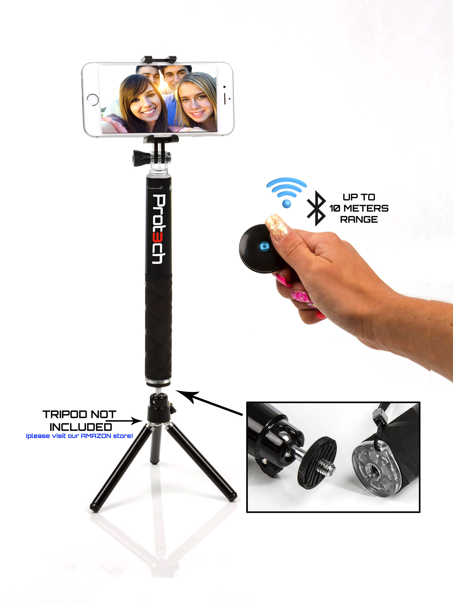apple iphone monopod selfie stick 60cm telescopic compact bluetooth wireless ebay. Black Bedroom Furniture Sets. Home Design Ideas
