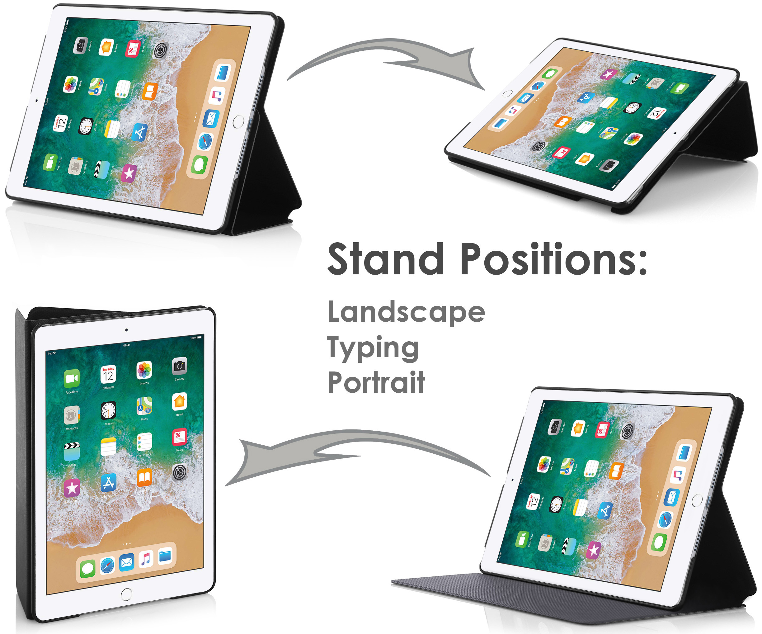 ipad 9 7 2018 case smart cover and stand for apple 9 7. Black Bedroom Furniture Sets. Home Design Ideas