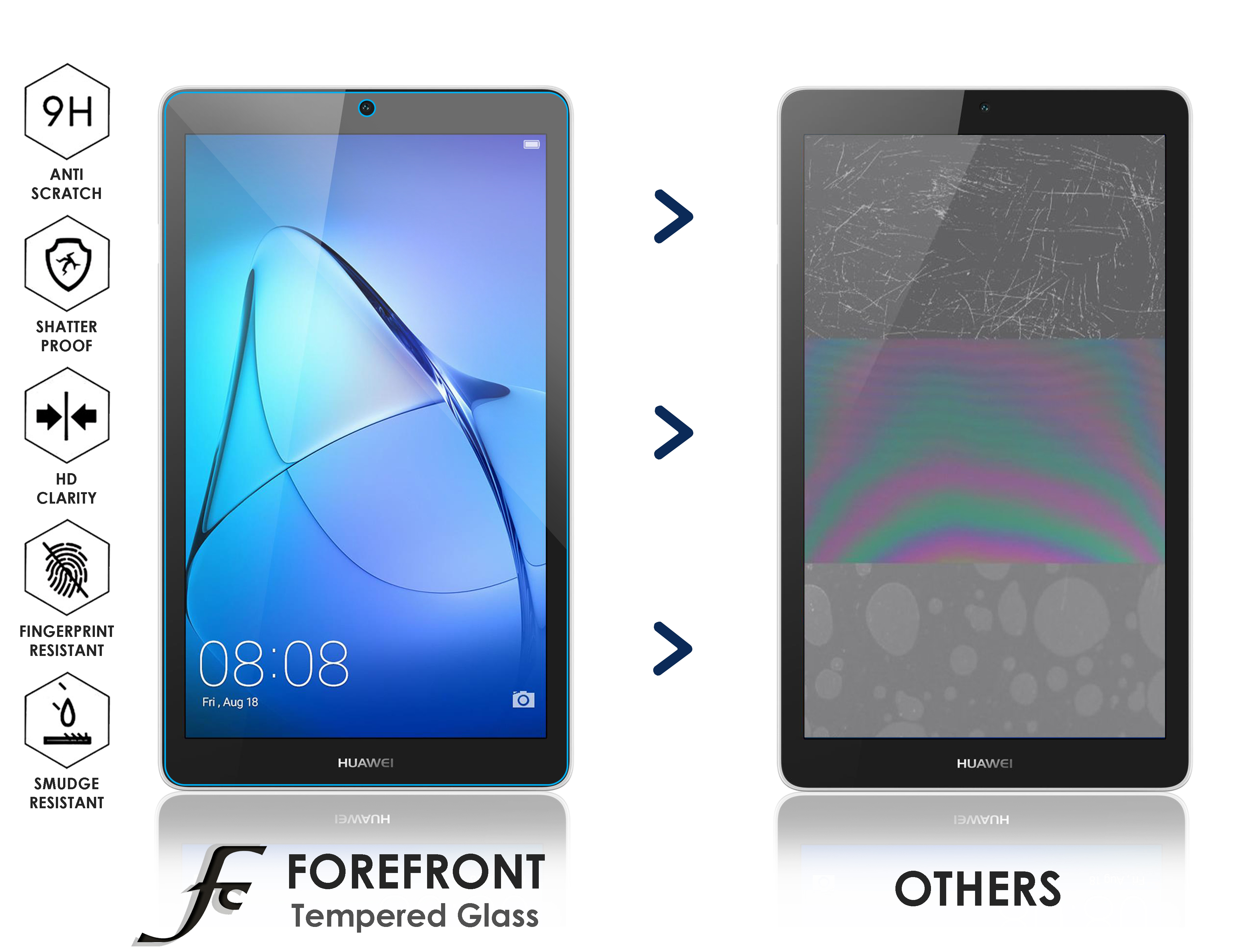 buy popular 7fee5 a2622 Details about Forefront Cases® Huawei MediaPad T3 7 HD 9H Tempered Glass  Screen Protector