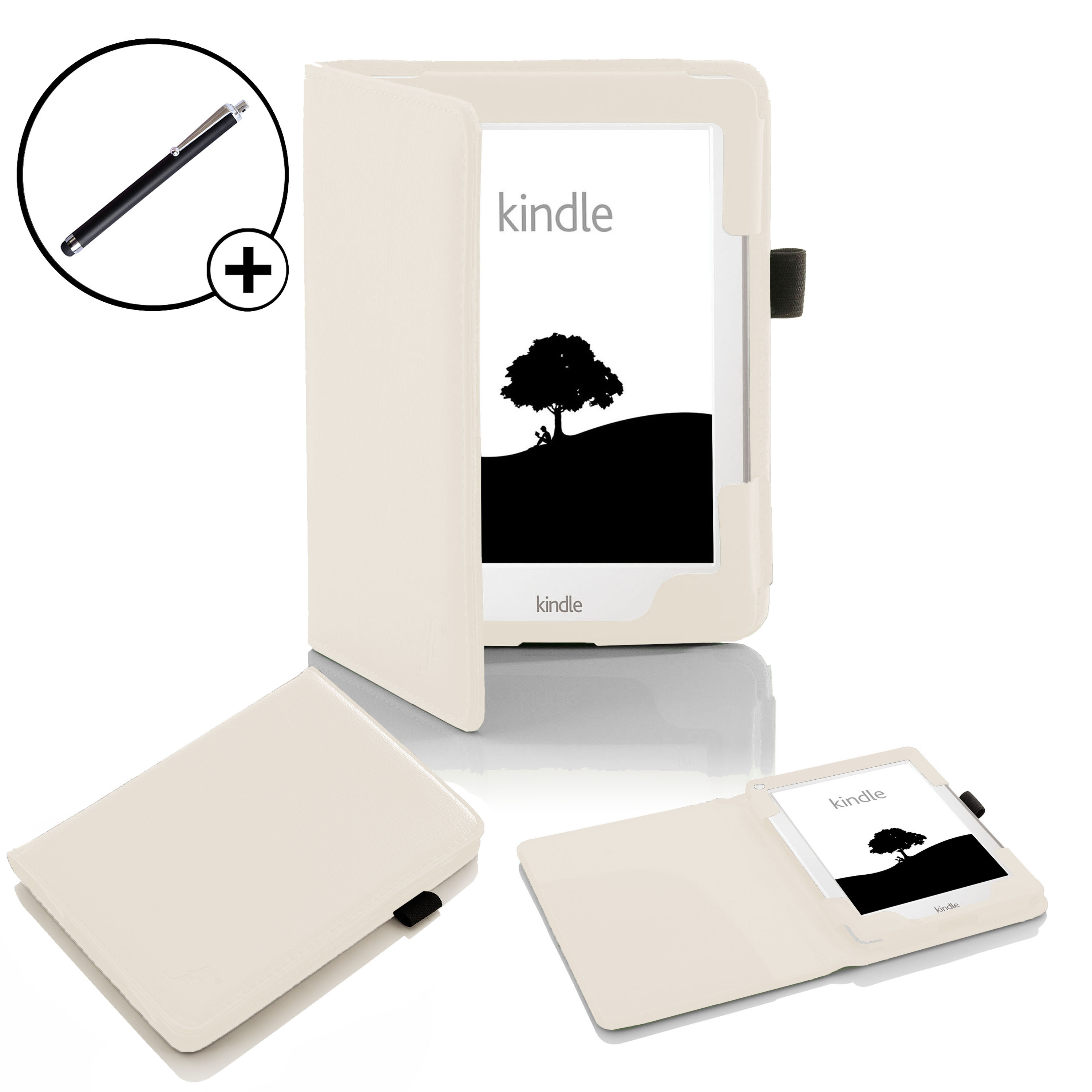brand new 3f917 64034 Details about Forefront Cases® Leather White Case Cover Sleeve for Amazon  Kindle 2016 Stylus