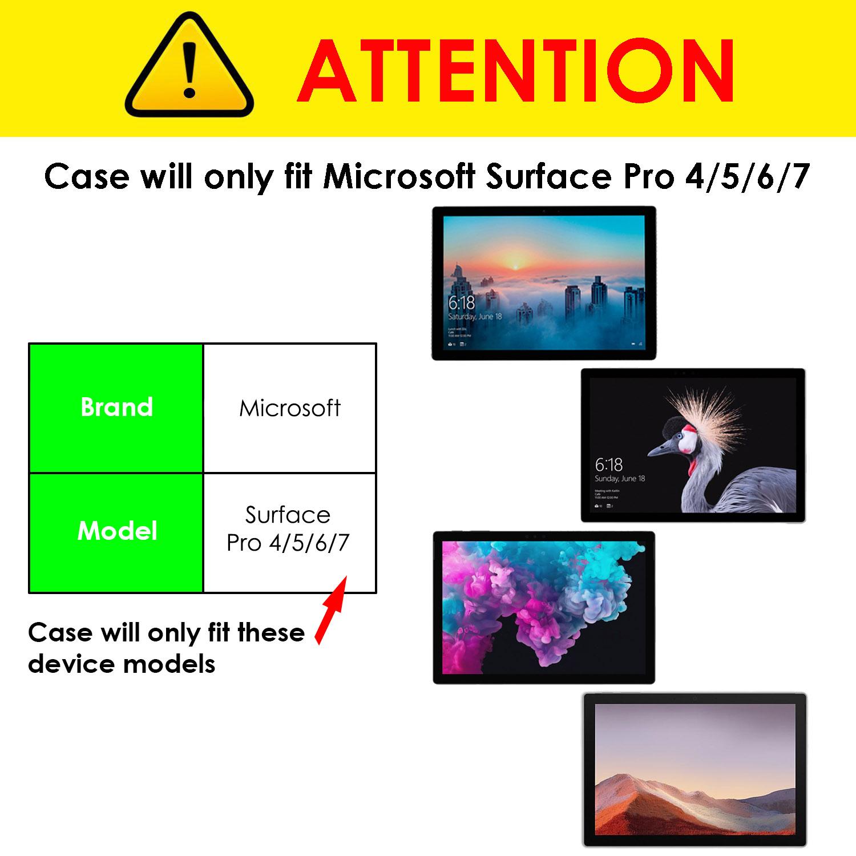 miniatura 6 - 7/6/5/4 Microsoft Surface Pro Custodia, Copertura, stand + Stylus, Protezione Schermo