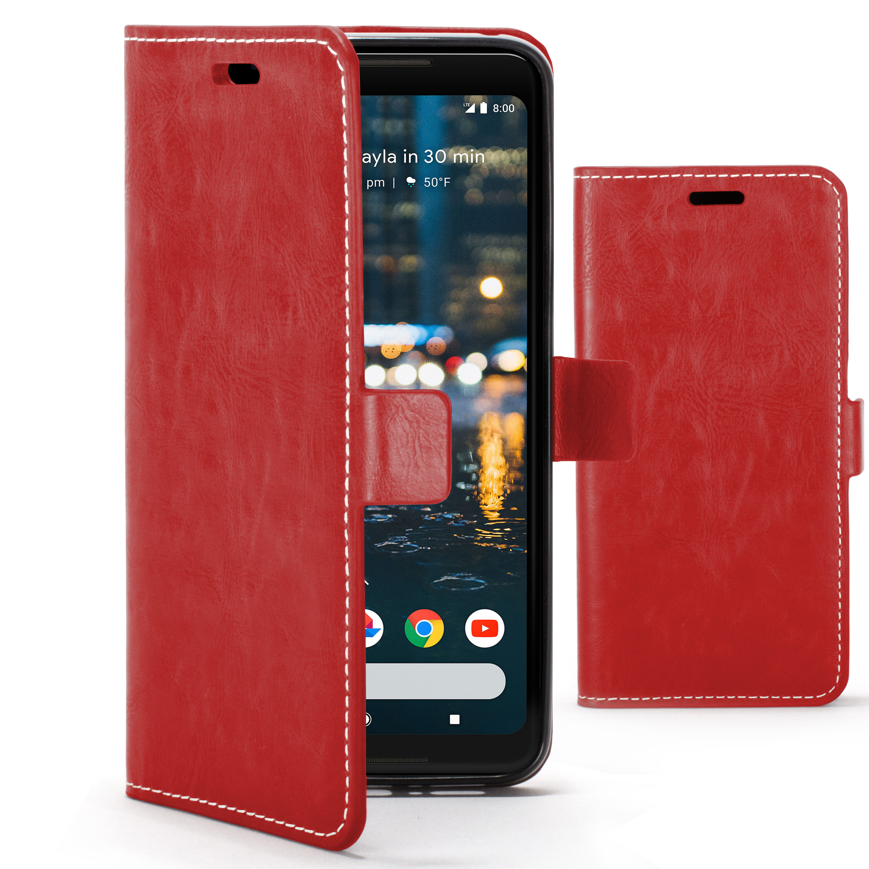 buy popular a57b6 ed373 Details about Google Pixel 2 XL Case Handmade PU Leather Premium Flip Cover  Wallet Red